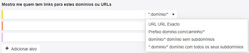 Análise de concorrentes de links