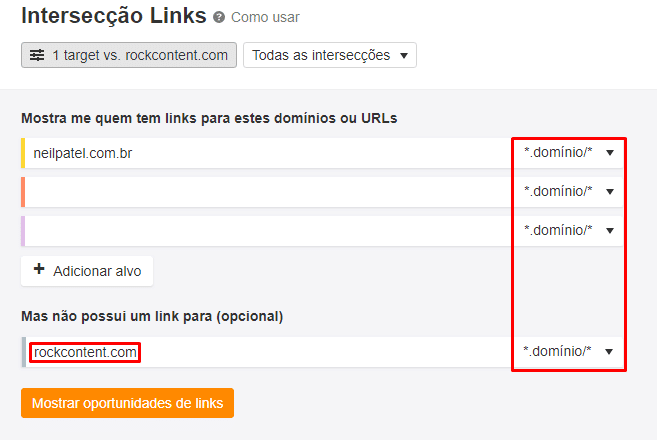 Análise de concorrentes de links