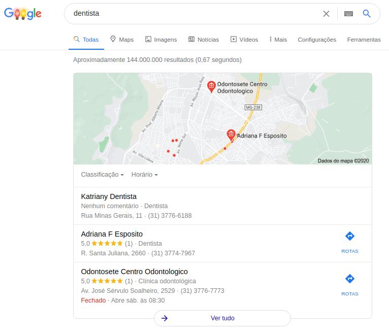 """Pesquisa por """"dentista"""" no Google"""