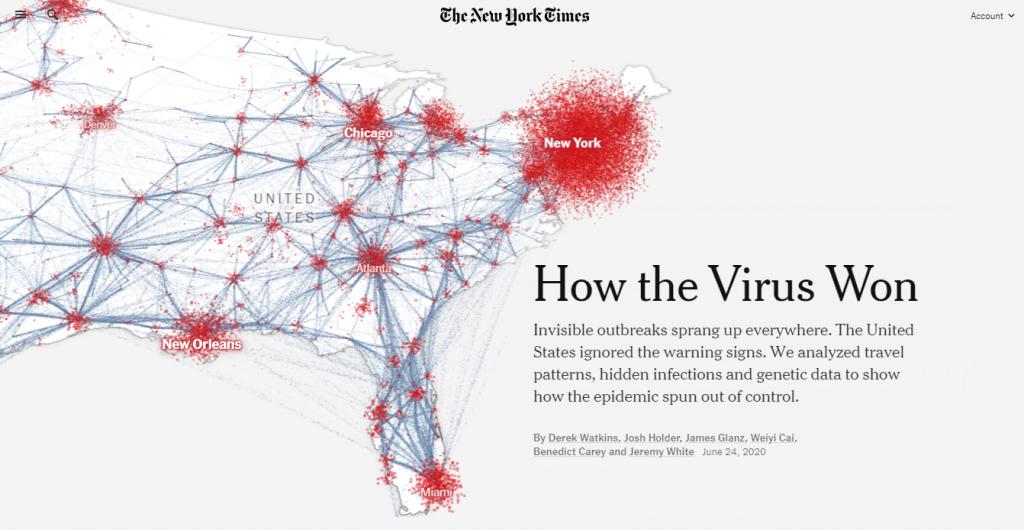 Gráfico como o vírus se espalhou nos Estados Unidos