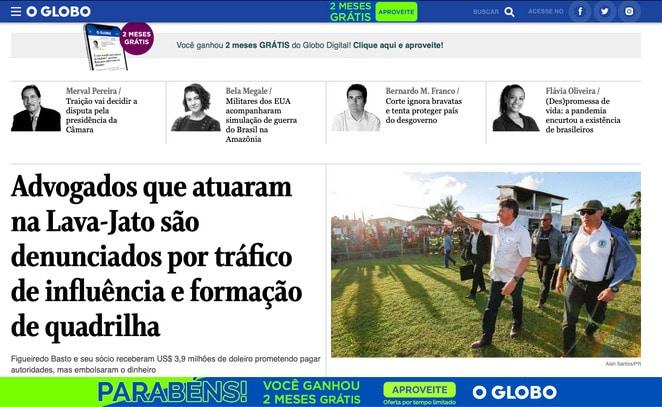 Página intersticial no site do O Globo