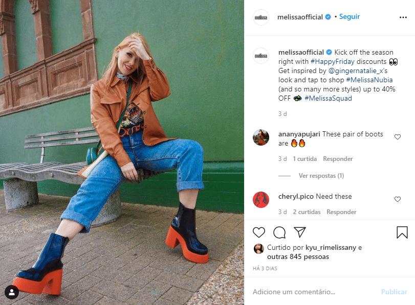 Postagem da Melissa no Instagram