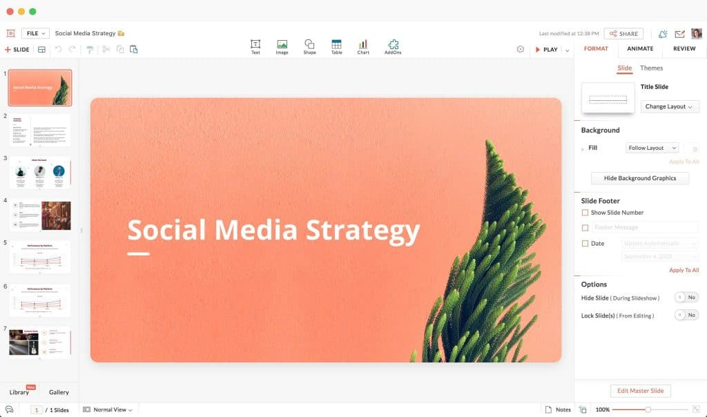 criar apresentação de slides