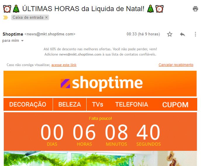 Exemplo de email da Shoptime