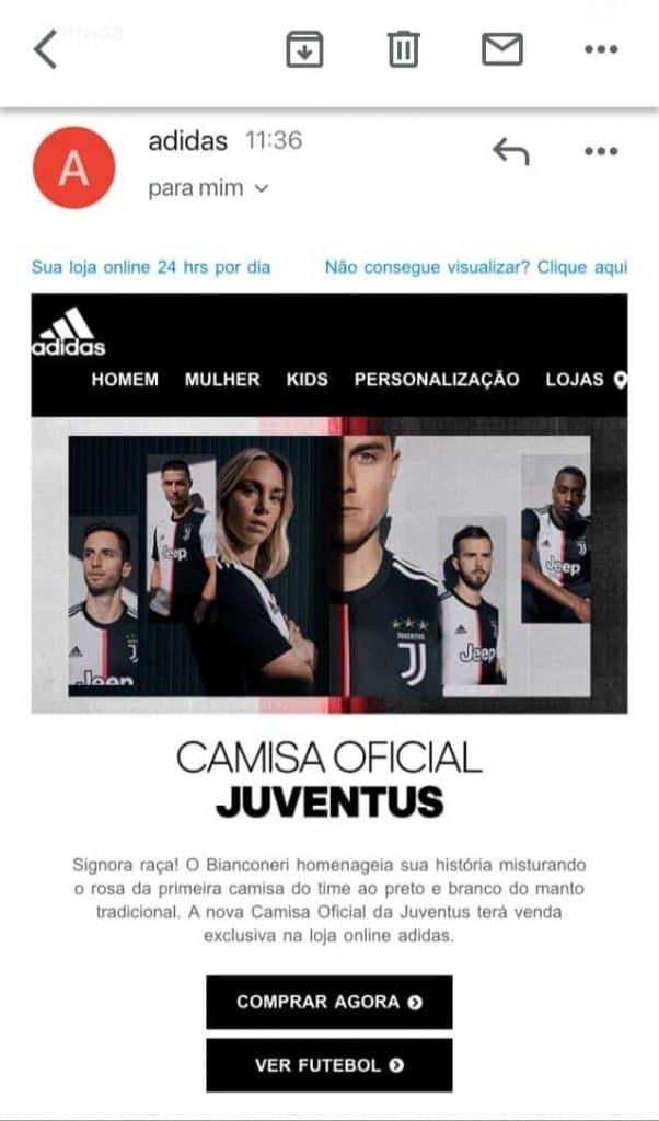 email marketing para lançamento de camisa da Juventus
