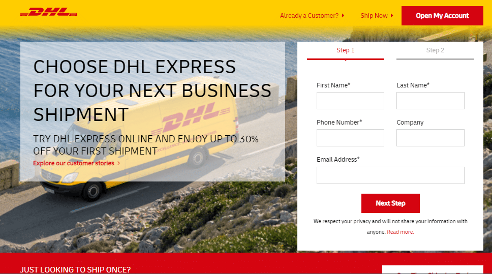 Lnading page interativa DHL