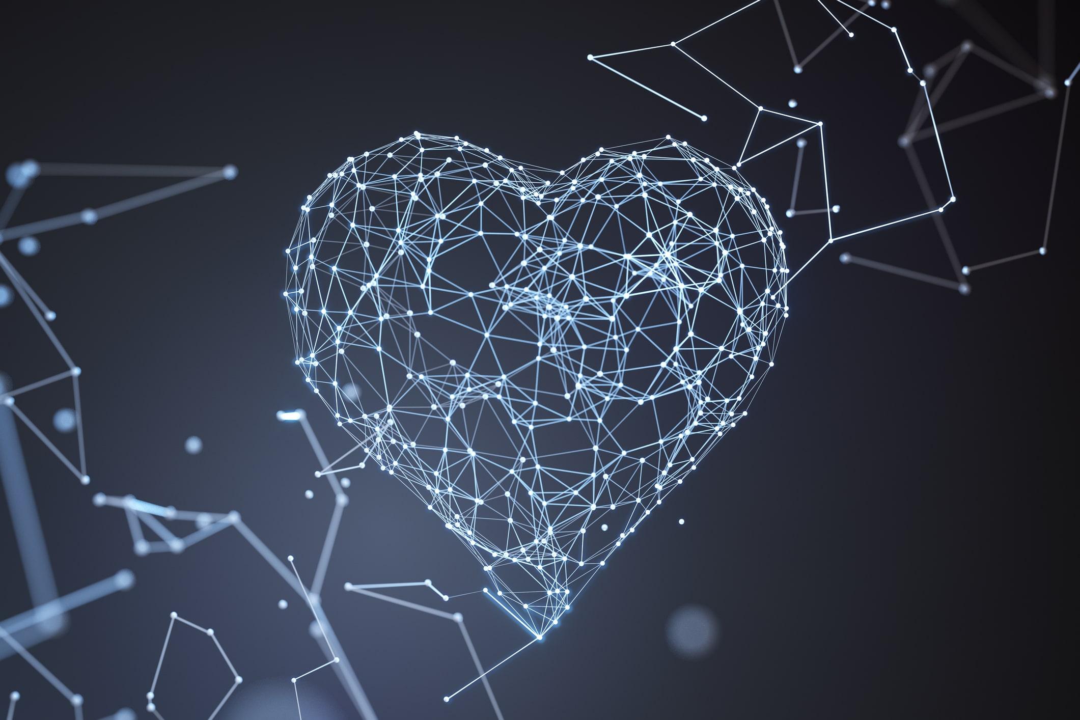 Coração formado por linhas de luz azuis