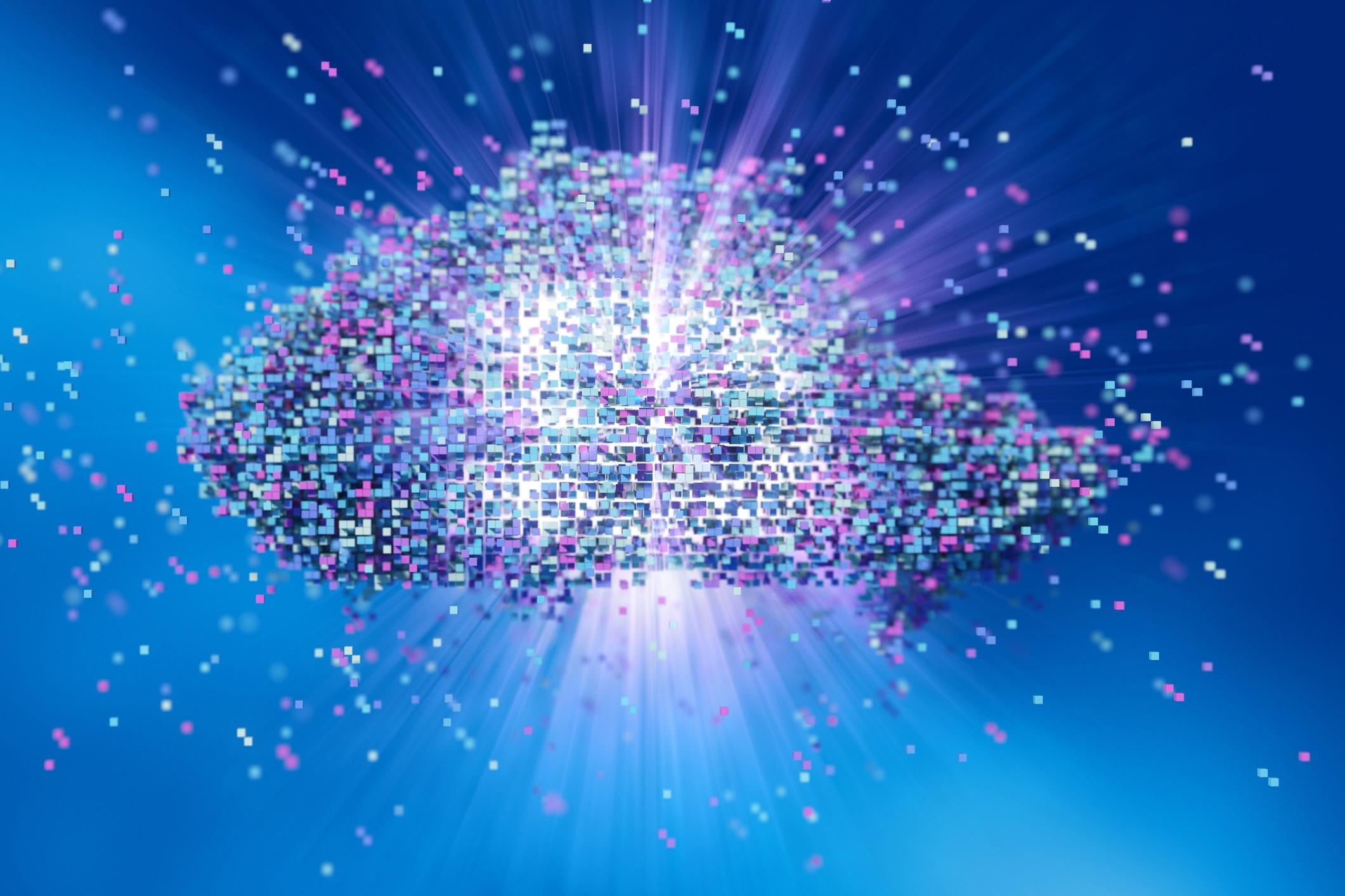 Nuvem formada por pequenos quadrados representando dados tecnológicos