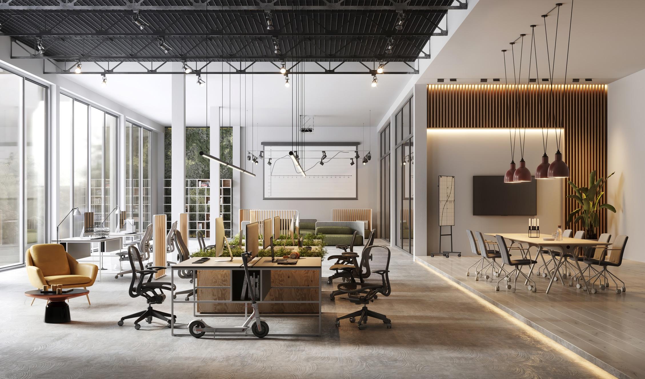 Mesas e cadeiras em um escritório vazio