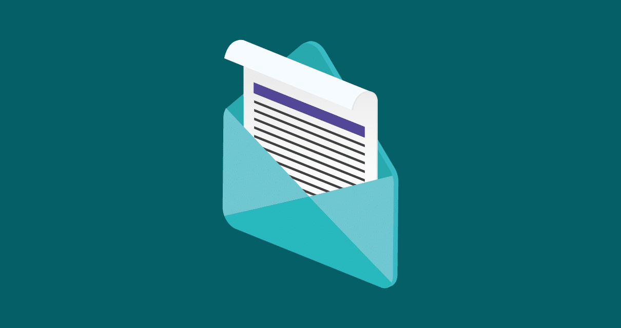 Uma carta, representando um email criado com base nas melhores Ideias para newsletter