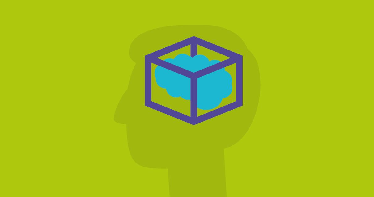 Desenho de uma cabeça pensando em como funcionam as principais figuras de pensamento: Antítese, hipérbole e eufemismo