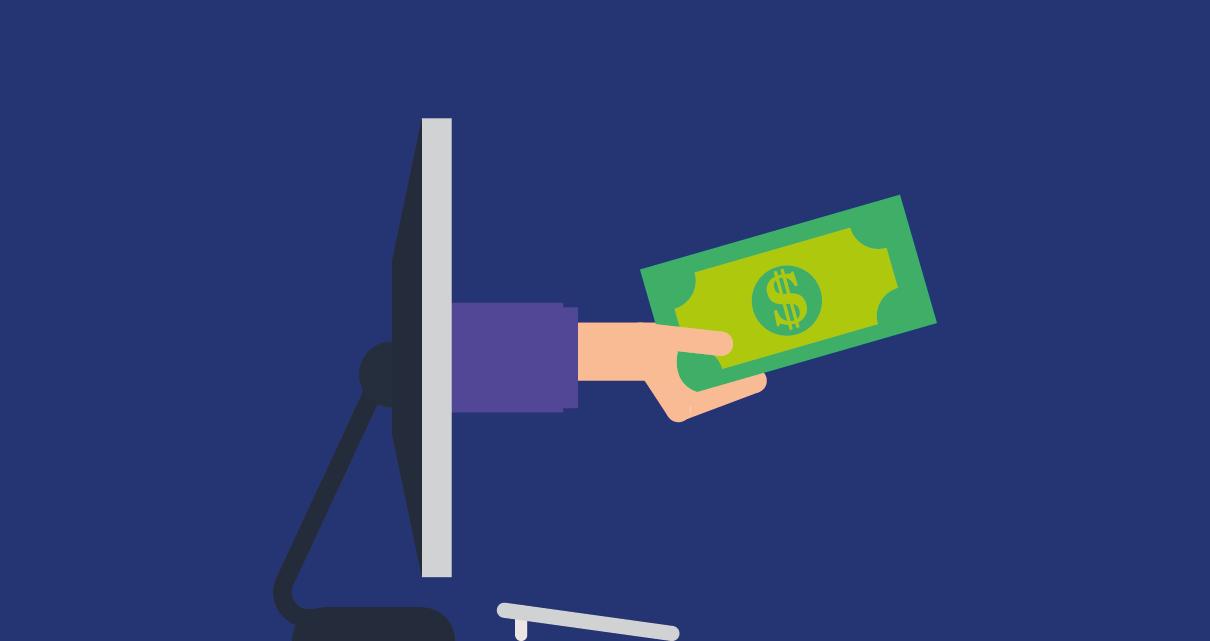 Um pagamento saindo de um computador a um freelancer que busca ganhar dinheiro escrevendo apenas sobre o que você gosta