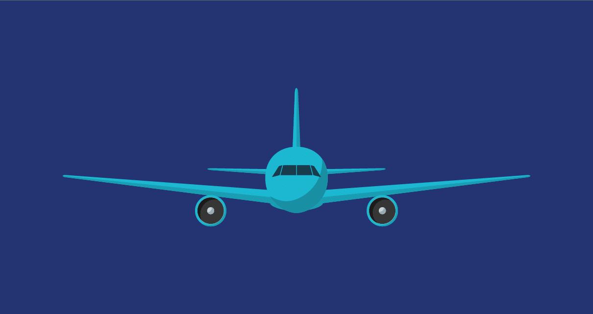 Um avião com um freelancer a viajar de graça