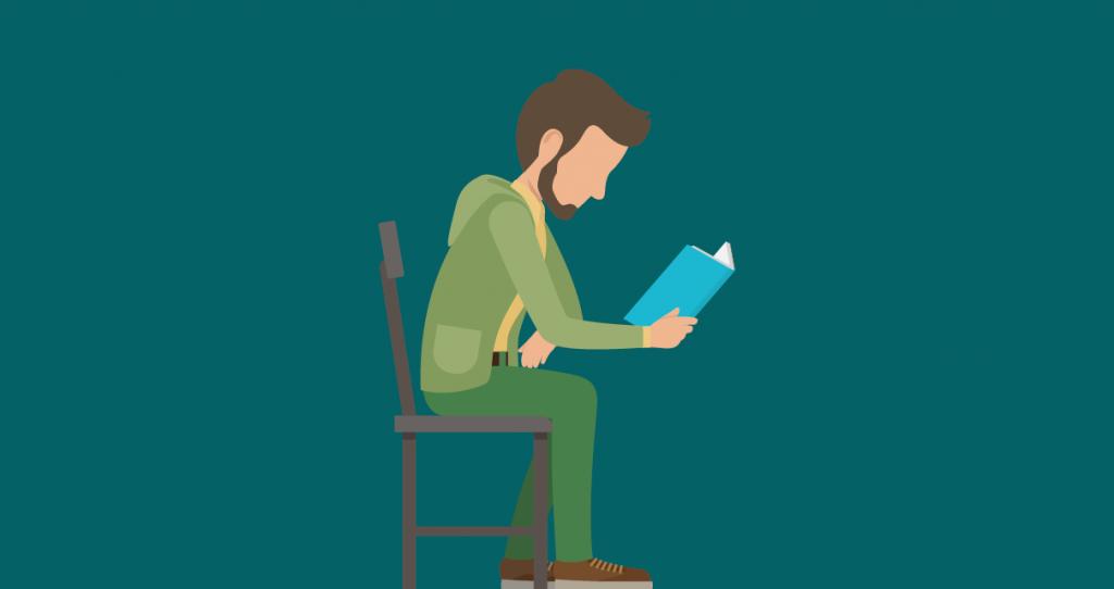 Um homem pesquisando a definição de Frase, oração e período em uma gramática