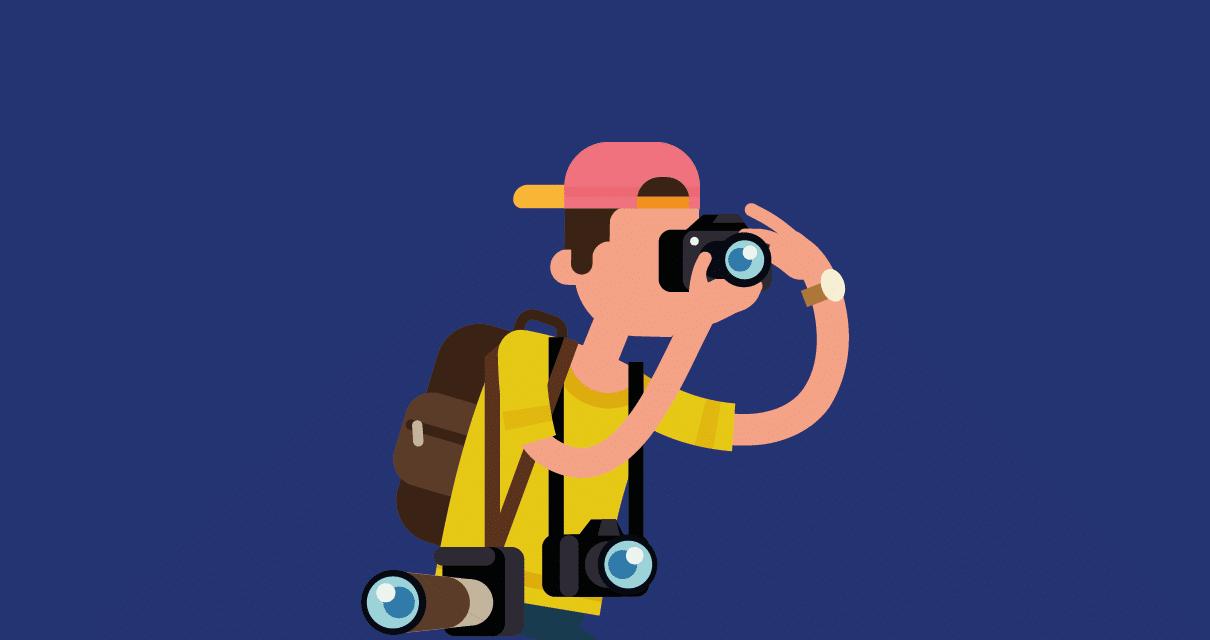 Desenho de um fotógrafo profissional