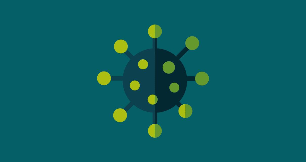 Desenho de um microorganismo, representando o conteúdo viral
