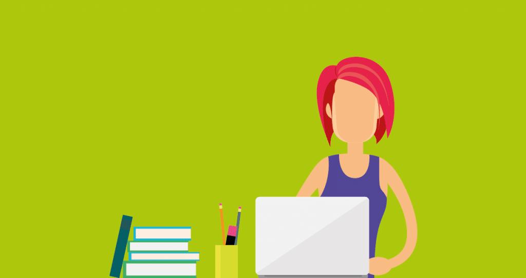 Uma freelancer de produção de conteúdo pesquisando sobre ferramentas de redação