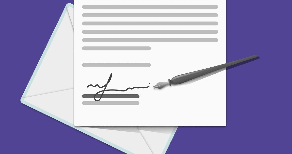 Uma carta assinada no rodapé
