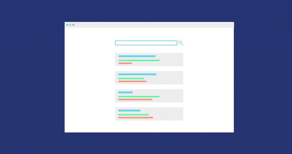 Uma página de resultados de buscas com palavras-chave long tail e head tail