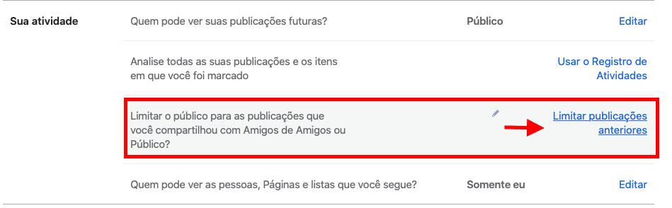 mudar a privacidade de todas as publicações do facebook