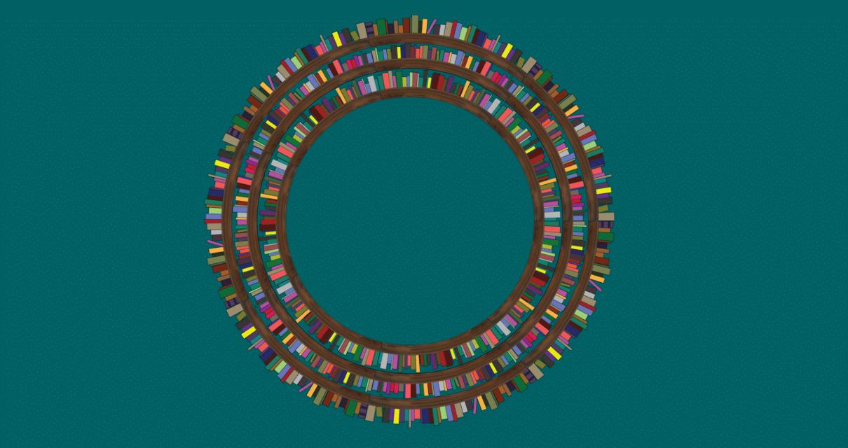 Fileira de livros falando sobre o que é verbo