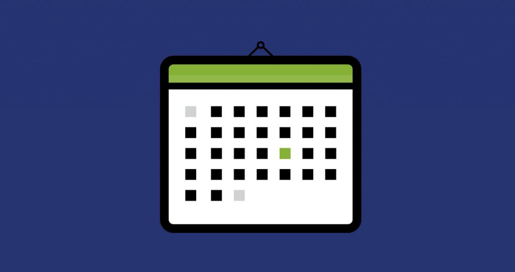 um calendário de planejamento e gestão de conteúdo