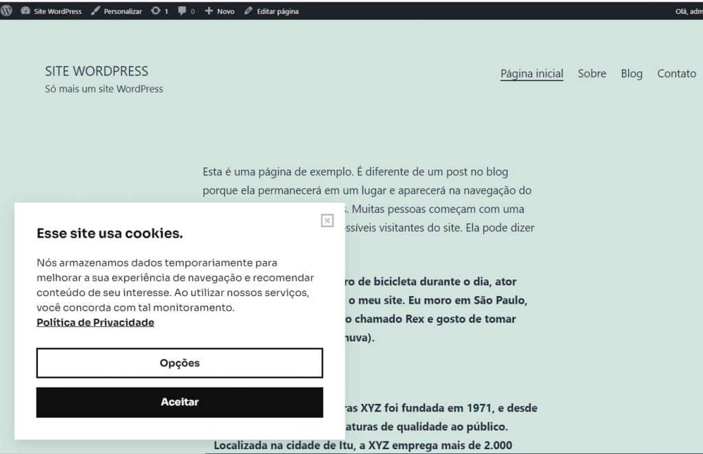 mensagem de cookies no site