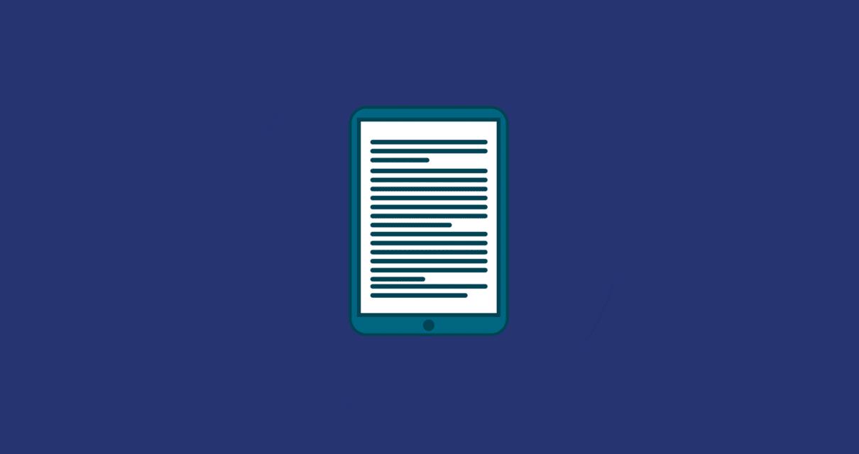 Tablet com um um post de conteúdo avançado