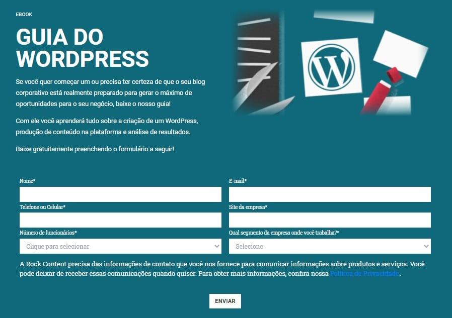formulário ebook