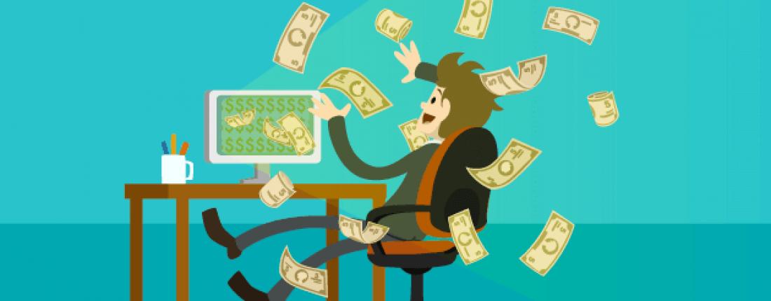 dinheiro saindo do computador