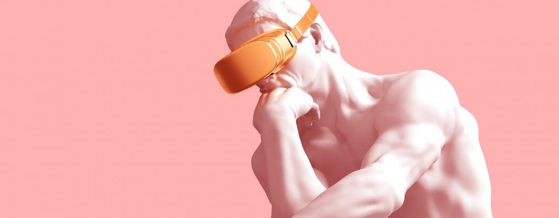Escultura de O Pensador com os vidros dourados de VR