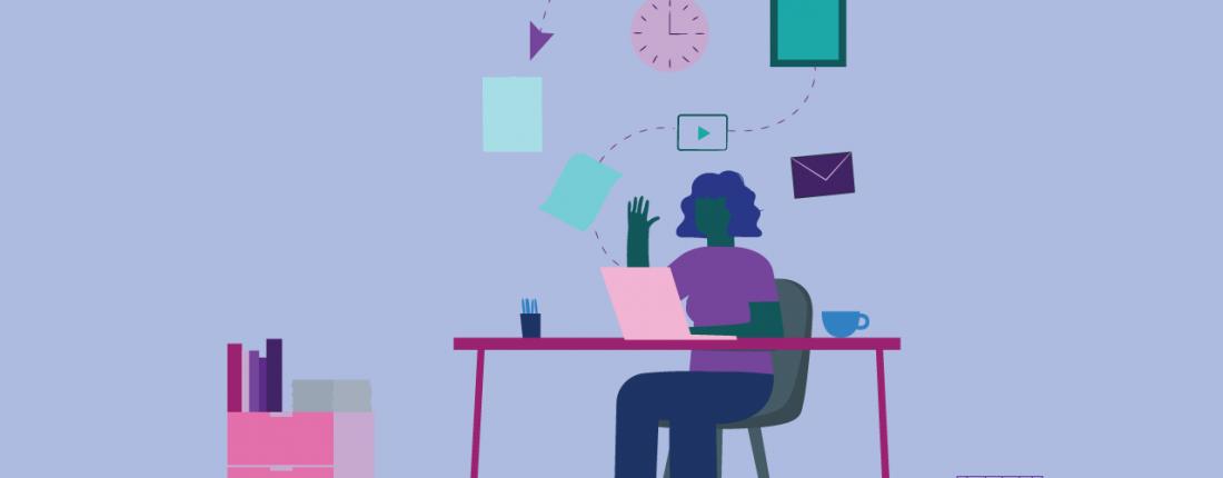 ilustração sobre trabalho remoto para times de marketing