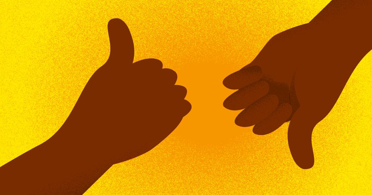 dos manos una representando el me gusta y otra el no me gusta