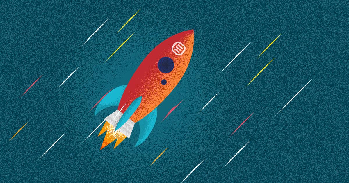 que es una startup - un cohete con la marca de rock content