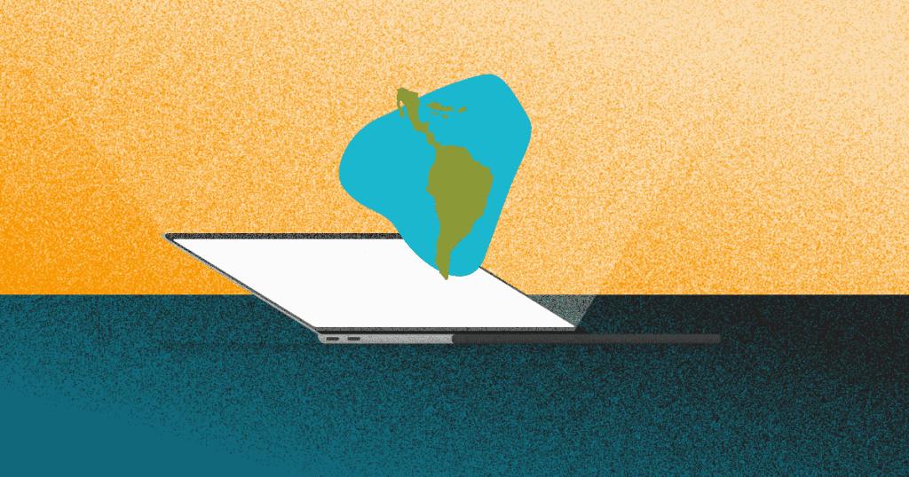 jovenes emprendedores latinoamericanos - un computador y el mapa de latinoamerica