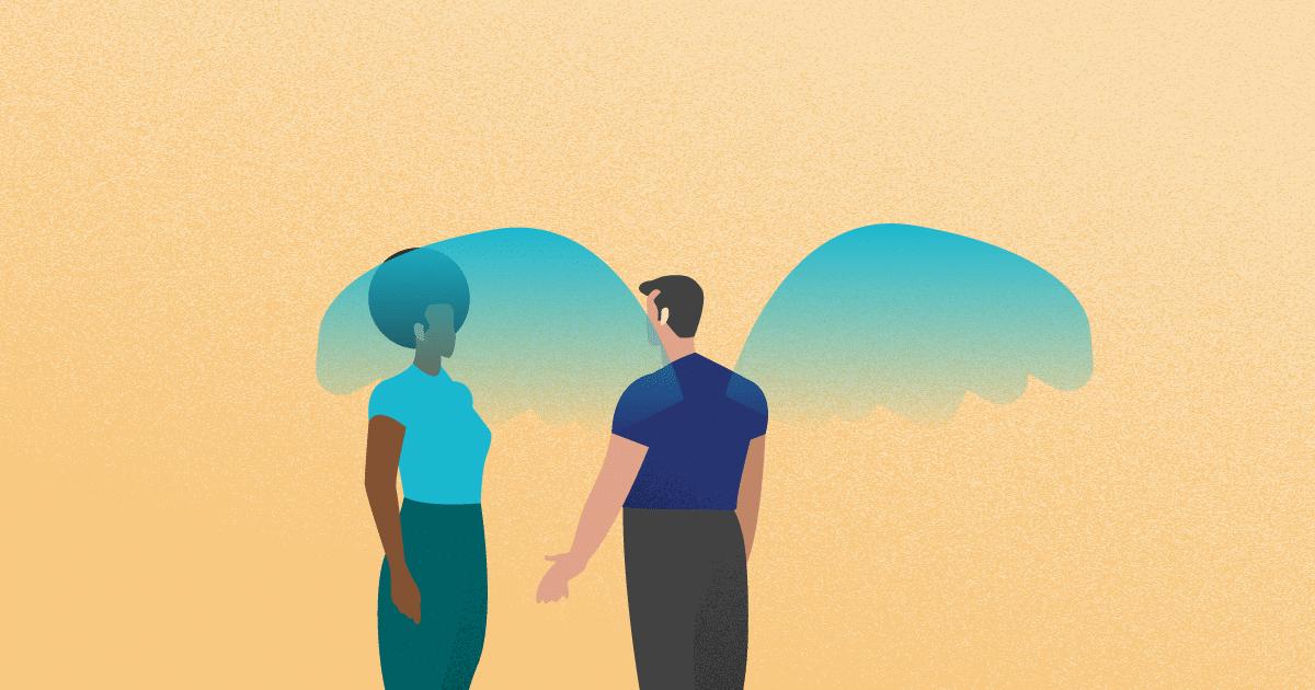 una persona con alas de ángel hablando con otra