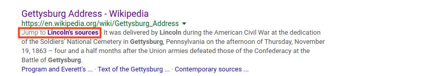 "Busca por ""Lincoln Gettysburg Address source"" no Google"