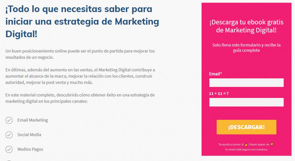 landing page del ebook sobre marketing digital