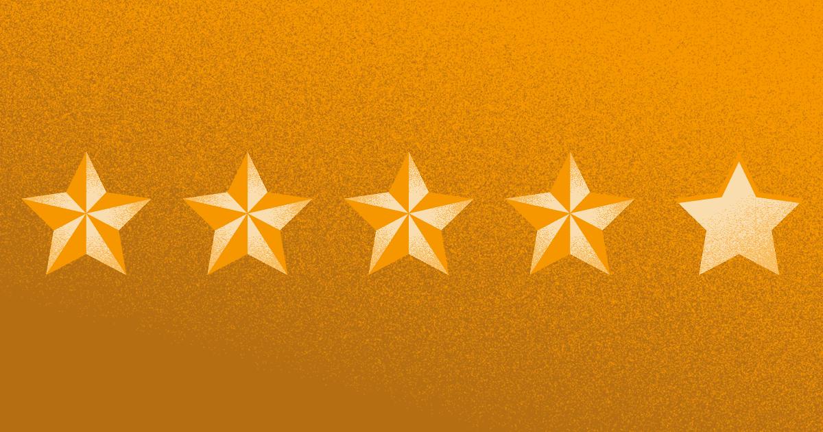 4 estrellas de 5 en una encuesta de satisfacción