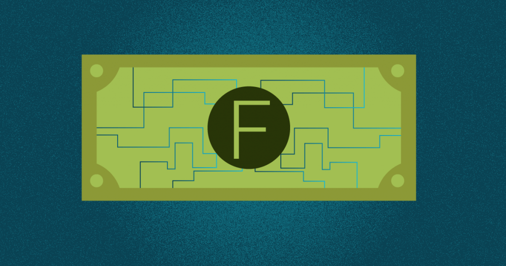 un billete con la letra f representando una fintech