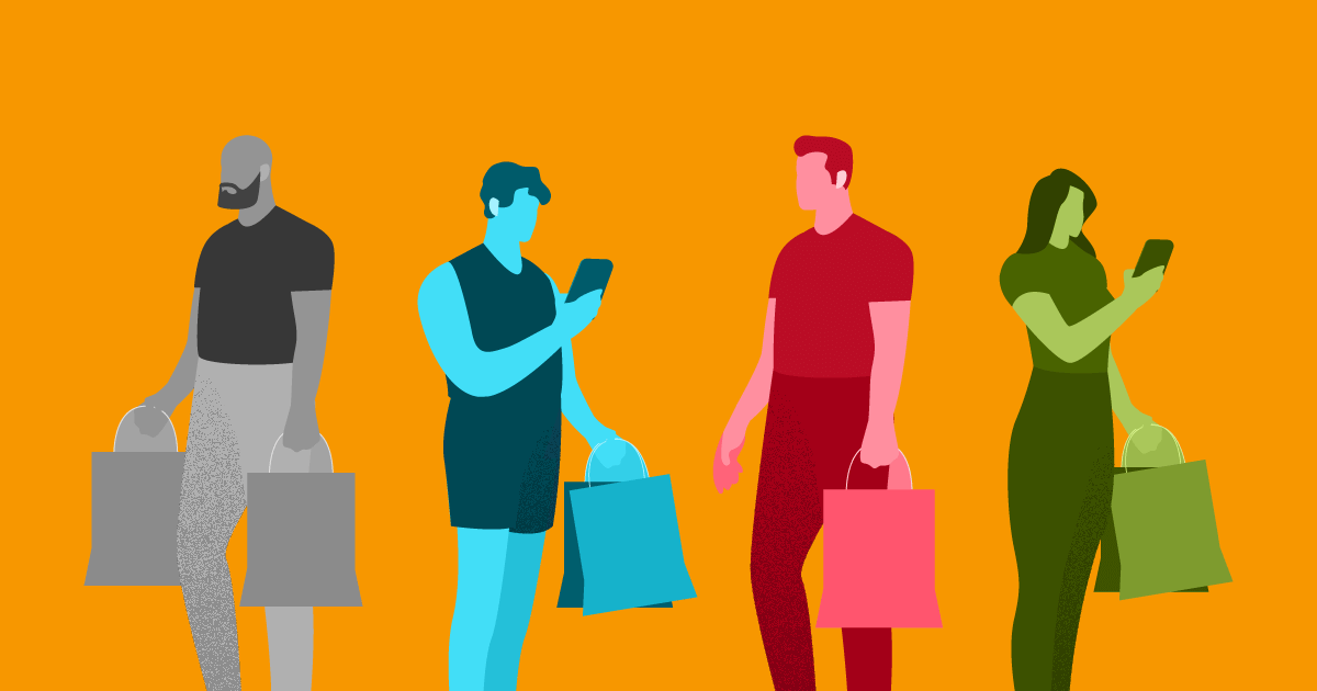 tipos de cliente - 4 personas distintas sujetando bolsas