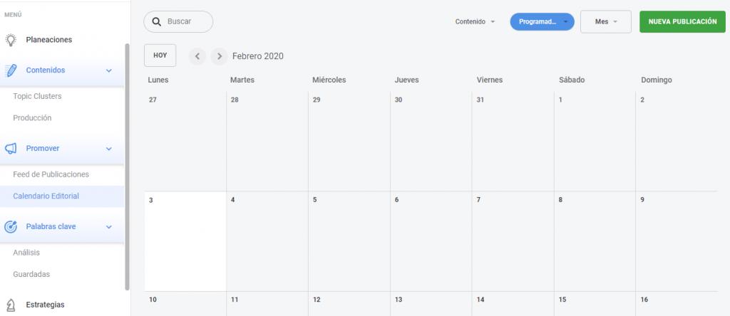 plataforma rock studio calendario editorial