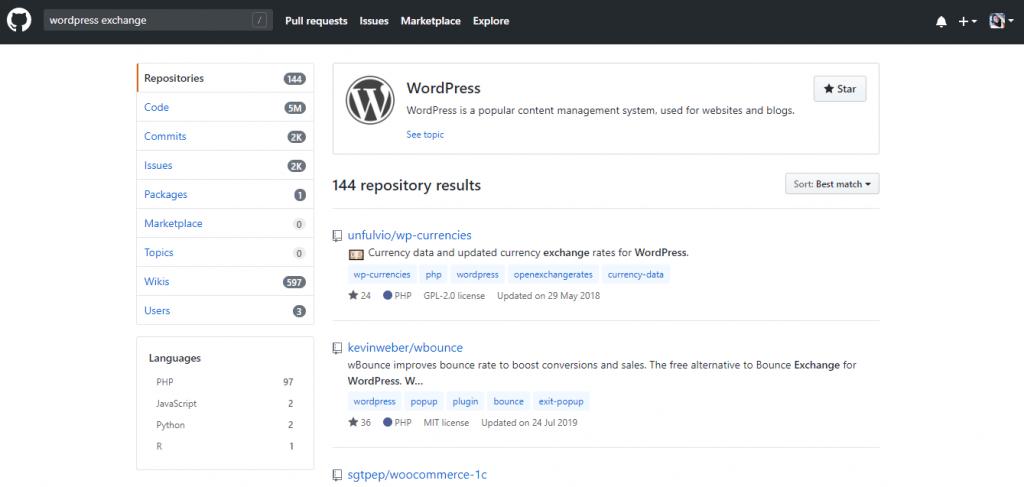 github wordpress