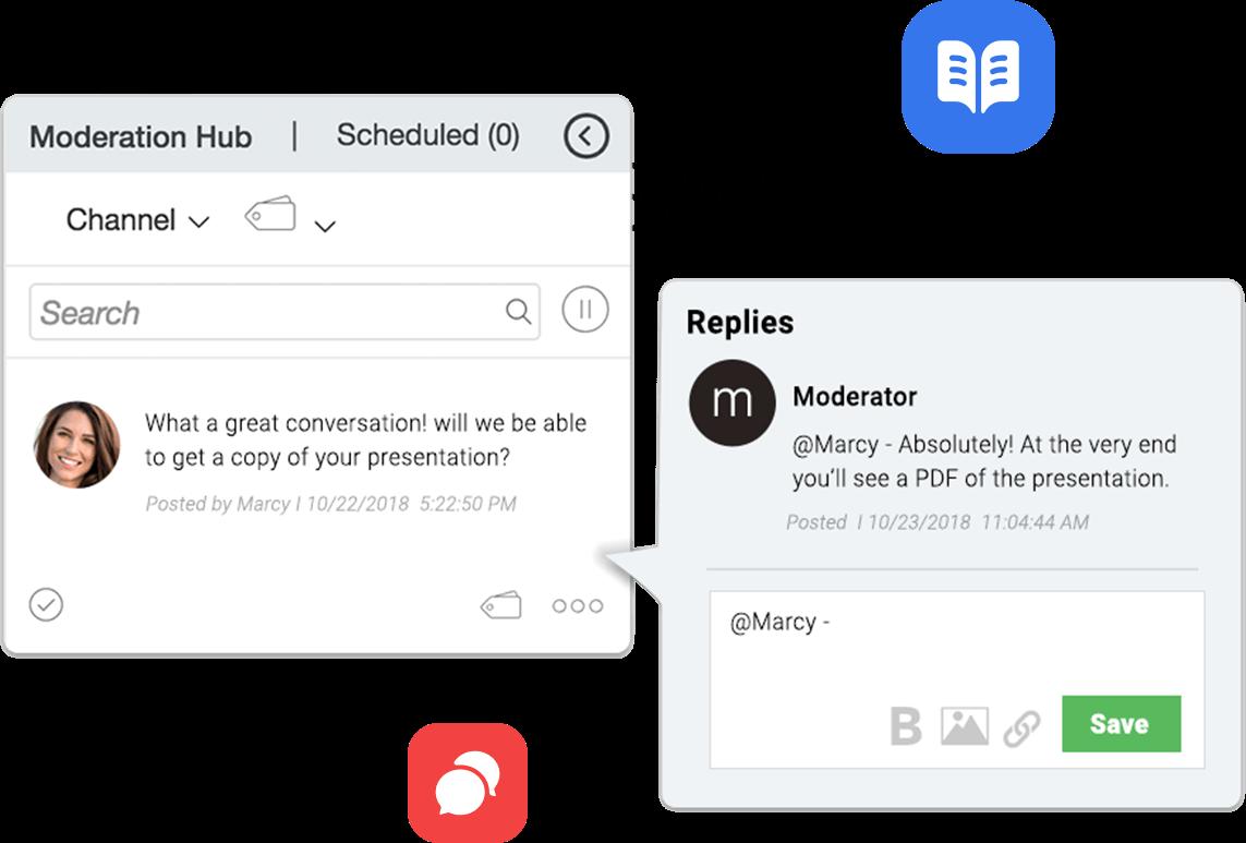 Ejemplo de Experiencia en vivo y Chat Engagement