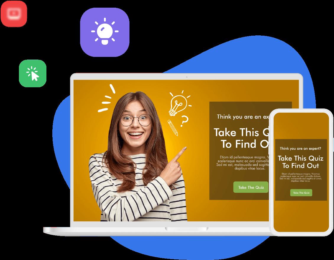 Pantalla de computadora exhibe una página interactiva con una mujer que señala un CTA de quiz