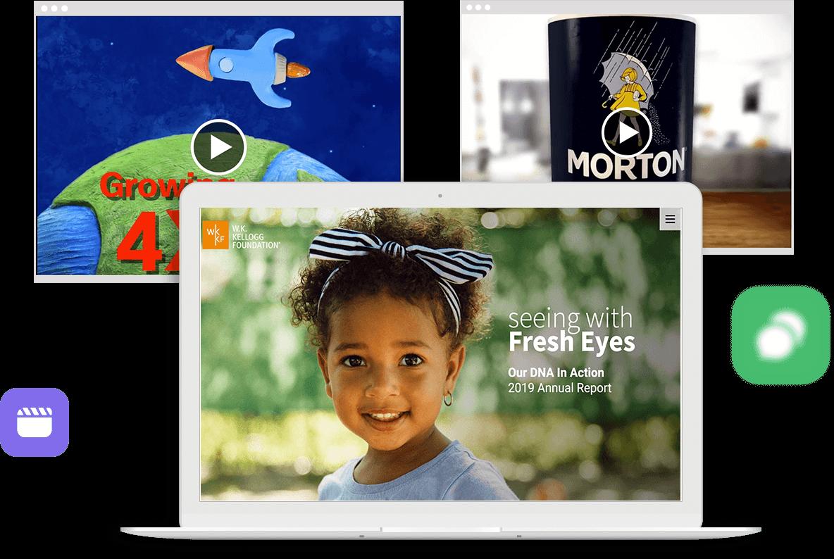 Tres pantallas digitales diferentes muestran experiencias de contenidos de marketing