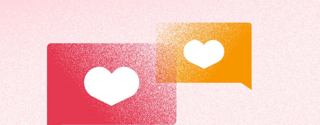 dos corazones de me gusta representando el marketing emocional