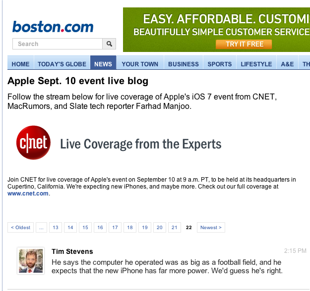 Boston.com apple coverage