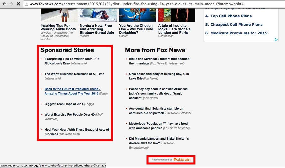 Native advertising blending in with content on Fox News.