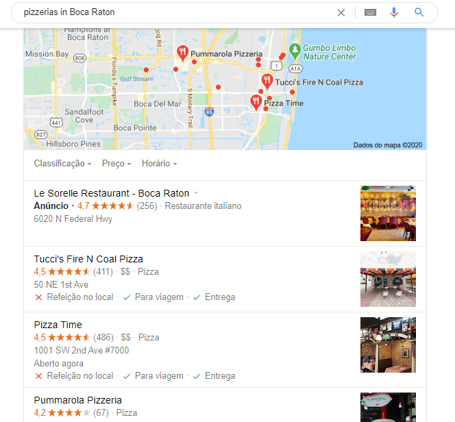local search for pizzerias